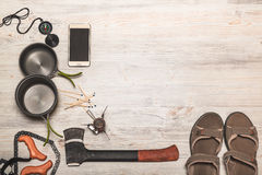 Equipment of hiking gear on floor background Royalty Free Stock Photography