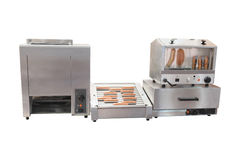 Equipment for hot dog preparation Royalty Free Stock Images