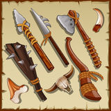 Equipment of a hunter, big set of ancient weapons Stock Photography