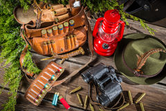 Equipment for hunting in forester lodge Royalty Free Stock Photos