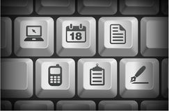 Equipment Icons on Computer Keyboard Buttons Stock Photography