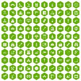 100 equipment icons hexagon green. 100 equipment icons set in green hexagon isolated vector illustration Stock Photos