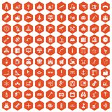 100 equipment icons hexagon orange. 100 equipment icons set in orange hexagon isolated vector illustration Vector Illustration