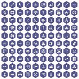 100 equipment icons hexagon purple. 100 equipment icons set in purple hexagon isolated vector illustration Stock Images