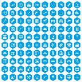 100 equipment icons set blue. 100 equipment icons set in blue hexagon isolated vector illustration Vector Illustration