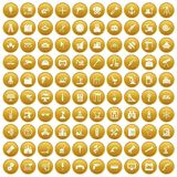 100 equipment icons set gold. 100 equipment icons set in gold circle isolated on white vectr illustration Royalty Free Illustration
