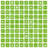 100 equipment icons set grunge green. 100 equipment icons set in grunge style green color isolated on white background vector illustration Royalty Free Stock Photo
