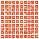 100 equipment icons set grunge orange. 100 equipment icons set in grunge style orange color isolated on white background vector illustration Royalty Free Illustration