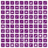 100 equipment icons set grunge purple. 100 equipment icons set in grunge style purple color isolated on white background vector illustration Stock Photo