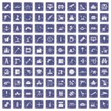 100 equipment icons set grunge sapphire. 100 equipment icons set in grunge style sapphire color isolated on white background vector illustration Vector Illustration