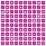 100 equipment icons set grunge pink. 100 equipment icons set in grunge style pink color isolated on white background vector illustration stock illustration