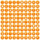 100 equipment icons set orange. 100 equipment icons set in orange circle isolated vector illustration Vector Illustration
