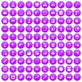 100 equipment icons set purple. 100 equipment icons set in purple circle isolated vector illustration stock illustration