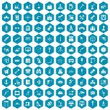 100 equipment icons sapphirine violet. 100 equipment icons set in sapphirine hexagon isolated vector illustration Stock Illustration