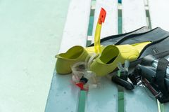 Equipment for immersion in water: mask, fins, camera case Royalty Free Stock Image