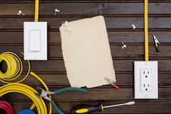 Equipment for installing electrical outlets Royalty Free Stock Photo