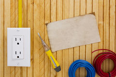 Equipment for installing electrical outlets Stock Images