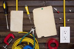 Equipment for installing electrical outlets Stock Photo