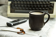 Equipment for journalist, copywriter, writer or poet for a cup of coffee Stock Images