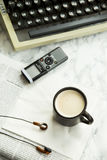 Equipment for journalist, copywriter, writer or poet for a cup of coffee Stock Image