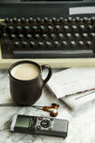 Equipment for journalist, copywriter, writer or poet for a cup of coffee Stock Photos