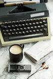 Equipment for journalist, copywriter, writer or poet for a cup of coffee Stock Photography