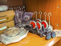 Equipment in laboratory. Equipment trial in laboratory, for example rope , pulley Royalty Free Stock Photography