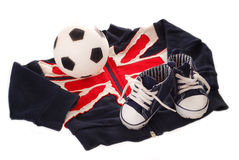 Equipment of little english football fan Royalty Free Stock Photo