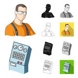 Equipment and machine cartoon,black,flat,monochrome,outline icons in set collection for design.Technical progress of the Royalty Free Stock Photo