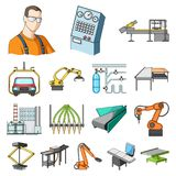 Equipment and machine cartoon icons in set collection for design.Technical progress of the factory vector symbol stock. Equipment and machine cartoon icons in Royalty Free Stock Images