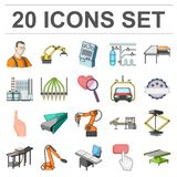 Equipment and machine cartoon icons in set collection for design.Technical progress of the factory vector symbol stock. Equipment and machine cartoon icons in Stock Photography