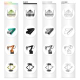 Equipment and machine cartoon icons in set collection for design.Technical progress of the factory vector symbol stock. Illustration Stock Photo