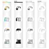 Equipment and machine cartoon icons in set collection for design.Technical progress of the factory vector symbol stock. Illustration Royalty Free Stock Images