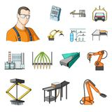 Equipment and machine cartoon icons in set collection for design.Technical progress of the factory vector symbol stock. Equipment and machine cartoon icons in Stock Image