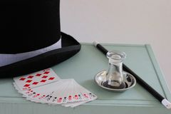 Equipment of a magician for stage show stock photo