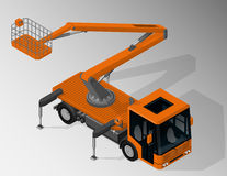 Equipment for maintenance of urban infrastructure. Vector isometric illustration of mobile elevating work platform. Equipment for maintenance of urban Royalty Free Stock Photo