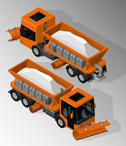 Equipment for maintenance of urban infrastructure. Vector isometric illustration of snowplow truck front and rear view. Equipment for maintenance of urban royalty free illustration