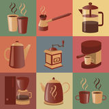 Equipment for making coffee, icons set Stock Photos