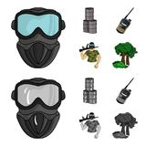Equipment, mask, barrel, barricade .Paintball set collection icons in cartoon,monochrome style vector symbol stock. Illustration Stock Photos