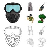 Equipment, mask, barrel, barricade .Paintball set collection icons in cartoon,outline style vector symbol stock. Illustration Royalty Free Stock Photos