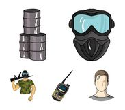 Equipment, mask, barrel, barricade .Paintball set collection icons in cartoon style vector symbol stock illustration web. Equipment, mask, barrel, barricade Royalty Free Stock Images