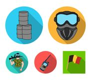 Equipment, mask, barrel, barricade .Paintball set collection icons in flat style vector symbol stock illustration web. Equipment, mask, barrel, barricade Royalty Free Stock Photo