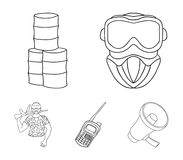 Equipment, mask, barrel, barricade .Paintball set collection icons in outline style vector symbol stock illustration web. Equipment, mask, barrel, barricade Stock Images
