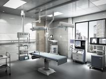 Equipment and medical devices in modern operating room 3d render. Interior stock photos