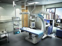 Equipment and medical devices in modern operating room 3d render. Interior Royalty Free Stock Photos