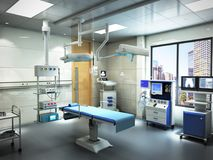 Equipment and medical devices in modern operating room 3d render. Interior stock photo