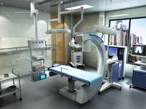 Equipment and medical devices in modern operating room 3d render. Interior stock photography