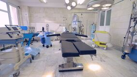 Equipment and medical devices in operating room. stock video footage