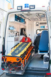 Equipment in the medical unit of a car. Equipment in the medical intensive care unit of a car Stock Photography