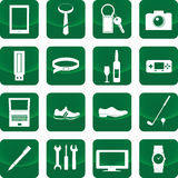 Equipment for men icon on green button. Include camera, mobile phone, watch, computer Royalty Free Stock Photos